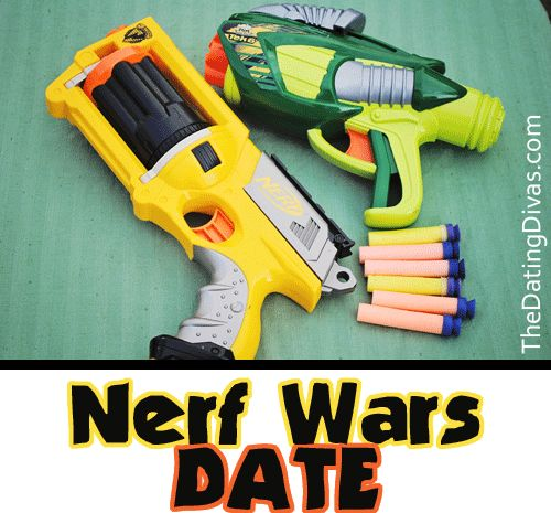 Who says Nerf Guns are just for kids? Grab two guns & create an ENTIRE FUN date night out of it! Free printables included. Heck - the whole family can get involved! . www.TheDatingDivas.com #creativedate #freeprintable #fundatenight