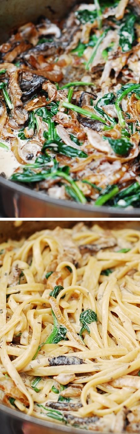 Creamy mushroom pasta with caramelized onions and spinach - an Italian comfort food! @juliasalbum