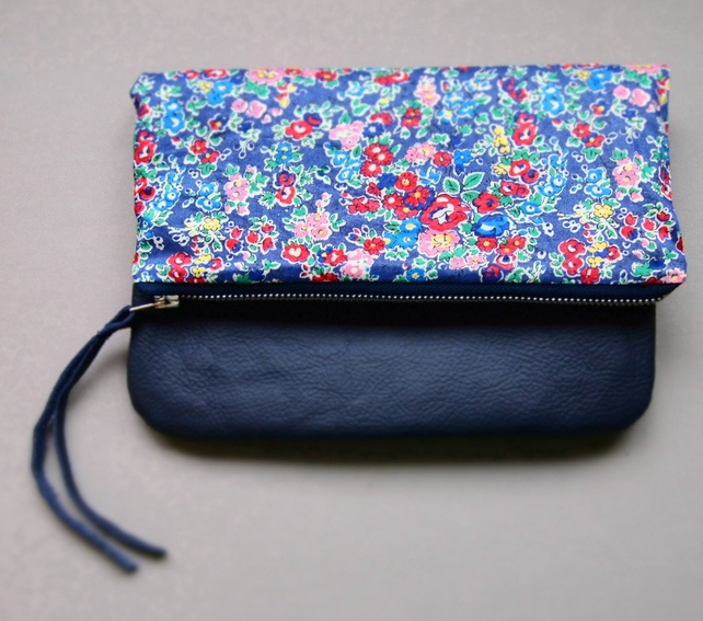 Navy blue leather and Liberty of London fabric fold over clutch purse
