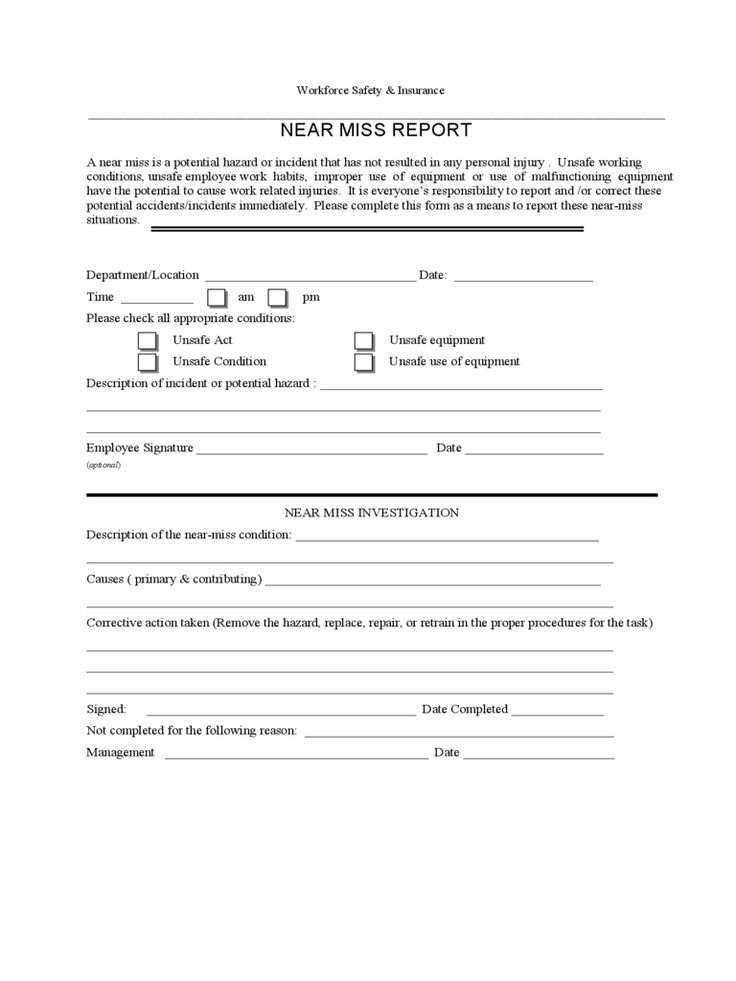 Near miss reporting form 2 free templates in pdf word