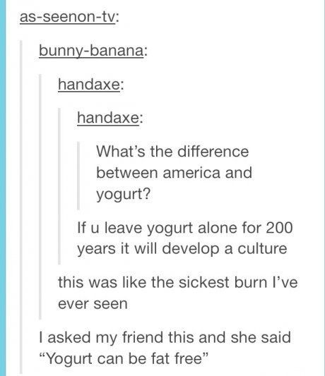When we didn't want to be like gross-ass yogurt anyway. | 17 Times The Rest Of The World Burned America Pretty Hard On Tumblr