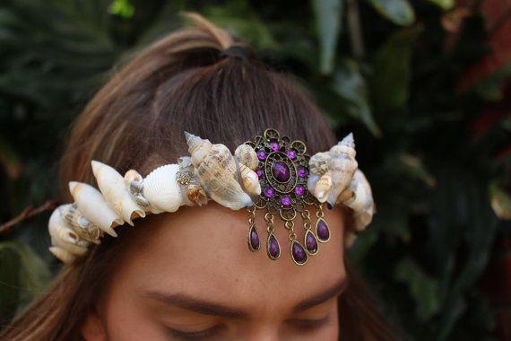 purple mermaid crown by chelseasflowercrowns on Etsy