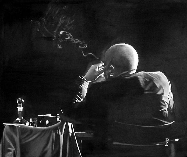 Mr.Smoke 110x85, oil on canvas autor: Petr ZEMAN, Czech republic, Vrchlabí 2009 - SOLD