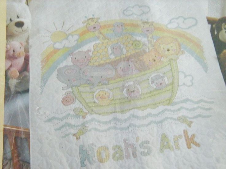 Bucilla Kit Noahs Ark Stamped Cross Stitch Crib Cover Quilt Blanket 45392 Animal #Bucilla #CribCover