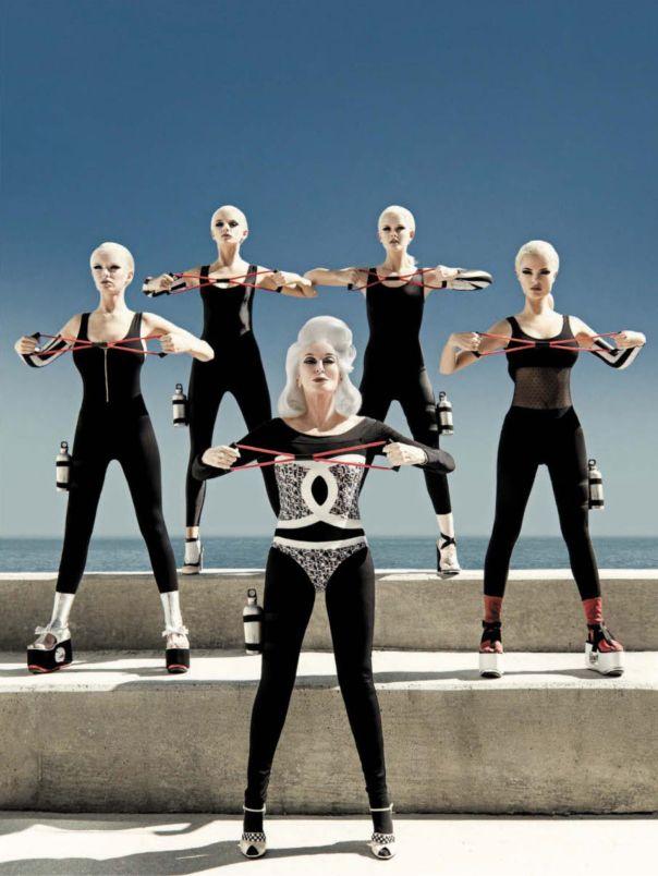 Carmen Dell'Orefice, Ioanna Dedi, Gintare, Bryn English & Karina Gubanova by Greg Lotus for Vogue Italia June 2013