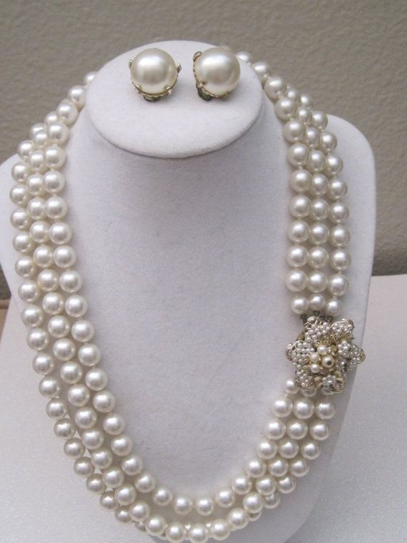 Vintage 3 Strand Pearl Necklace Marked Japan Clip On
