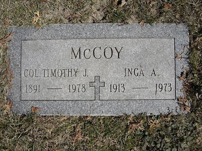 "Tim McCoy - Actor, Entertainer. Born Timothy John Fitzgerald McCoy in Saginaw, Michigan, later moving to Wyoming where he lived on a ranch. He served as a Lt. Colonel in the U.S. Army both in World War I and World War II. He acted in both silent films and later ""talkies"" for MGM, Universal Pictures, and Columbia Pictures, the majority of which were Westerns. At the height of his popularity, he was featured on ""Wheaties"" cereal boxes."