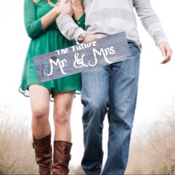 Engagement Photo Props The Future Mr and Mrs by SawmillCreations, $19.00