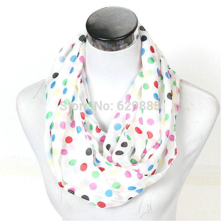 2017 New Lovely Female Stripe Dots Ring Scarf Fashion Winter Women Dot Silk Infinity Scarves Nice Chevron Loop Shawl