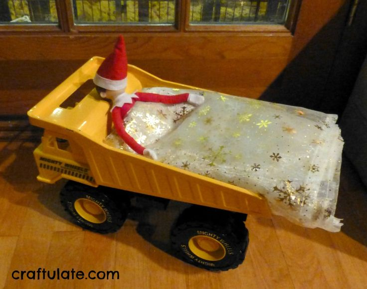 Elf on the Shelf for Toddlers - Elf sleeping in the dump truck....