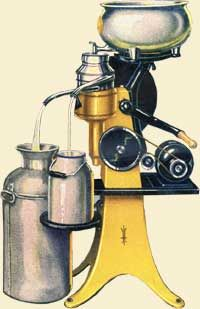 nvented in Germany in 1870's, the cream separator would become a fixture on virtually every dairy farm. By the 1920'  s thirty American manufacturers. were producing 200,000 hand-cranked cream separators a year. Including tractor manufacturers, stationary engine builders and retail giants like Sears Roebuck.   German inventor Dr De Laval'  s cream separator that bore his name would become the benchmark all others were measured by.