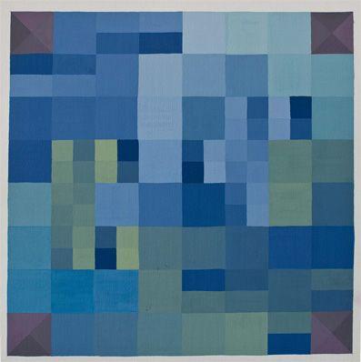 Tavola di pentamini con colori freddi con i quadrati divisi dalle mediane. Contrasti agli angoli con i quadrati divisi dalle diagonali.