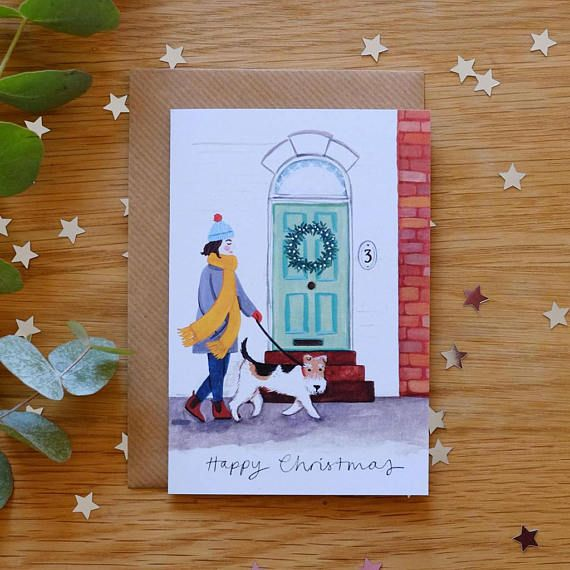 Six Pack Wire Fox Terrier Illustrated Christmas Card by Stephanie Cole Design