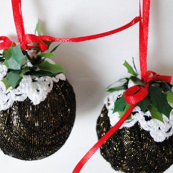 Two x Medium Christmas Pudding Baubles - Metallic, Paradis Terrestre - Luxury British Made Accessories & Homeware