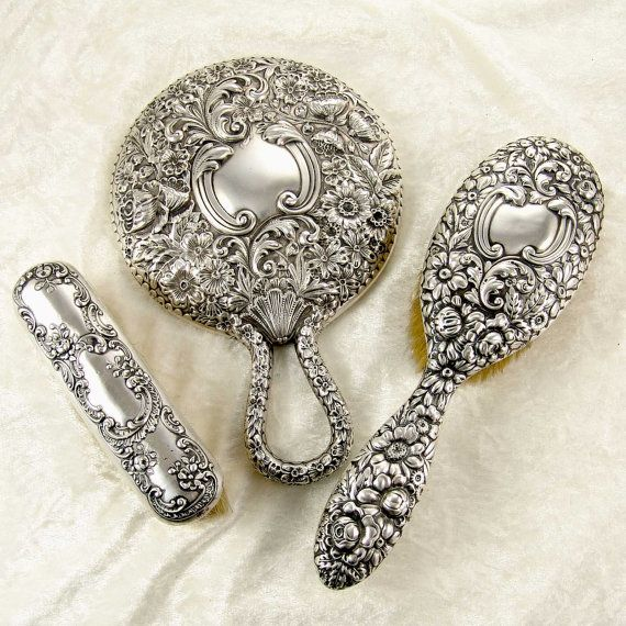 1896 Antique Repousse Mirror Hair Brush And Cloths Vanity Dresser Set In Sterling Silver