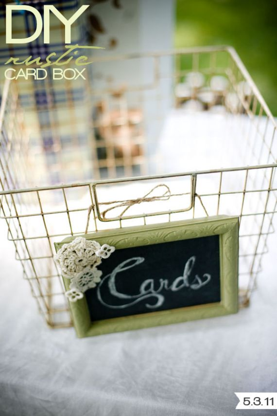 Rustic card holder for a wedding.