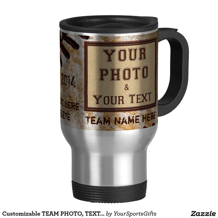 They will love their very own Customizable TEAM PHOTO, TEXT Baseball Coffee Mugs.http://www.zazzle.com/customizable_team_photo_text_baseball_coffee_mugs-168024966990608586?design.areas=%5Bzazzle_mug_travel15_front%5D&rf=238012603407381242 For more customizable gifts CLICK HERE: http://www.Zazzle.com/YourSportsGifts Visit our Website http://YourSportsGifts.com