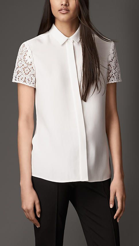 Lace Sleeve Silk Shirt