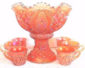 *CARNIVAL GLASS ~ Memphis Punch Set in marigold