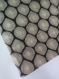 India Cotton Fabric/kalamkari print/hand made/Natural Vegetable Dyes for Dresses,Curtain-1 yard Black -White  Jaipur Sanganeri Printed