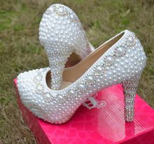 2015 primavera outono vestido de casamento branco sapatos moda Lady partido Prom sapatos lindo imitação pérola strass sapatos de noiva(China (Mainland))