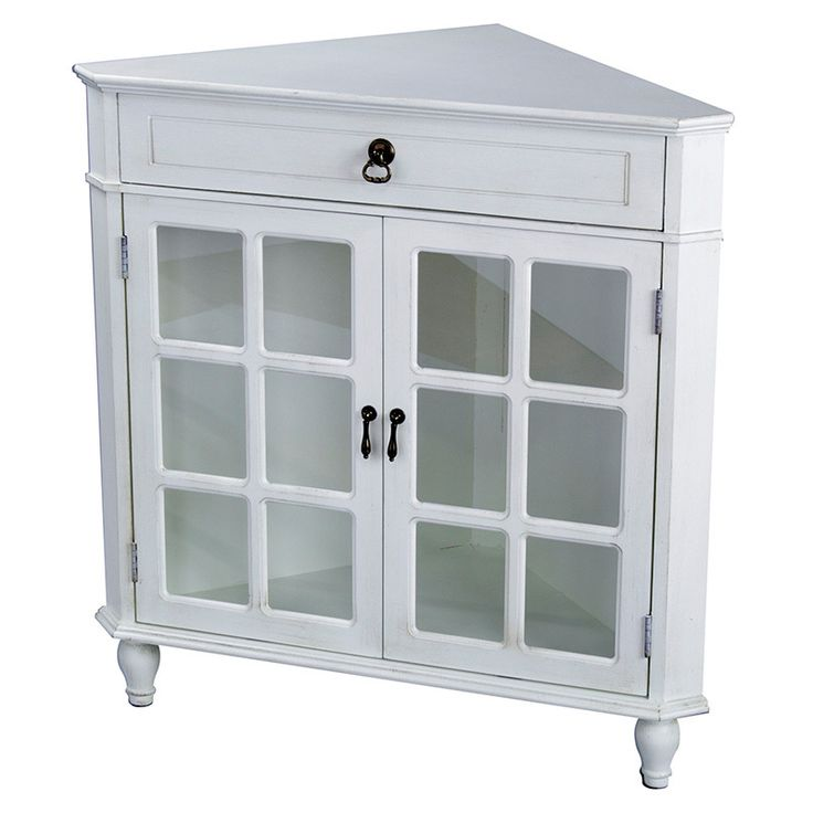 Heather Ann Double Door, Single Drawer Wooden Corner Cabinet With Glass  Insert In Doors. This Piece Is Perfect For The Living Room, Hall, Dining  Room And ...