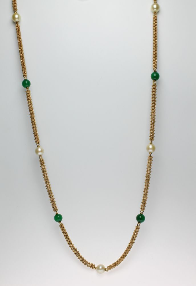 Lot 685, A Continental 18ct yellow gold fancy link cultured pearl and hardstone set necklace, sold for £1200