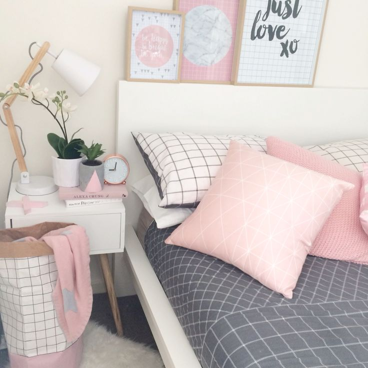 My Bedroom. Pink, Grid, Timber, Scandi, Grey