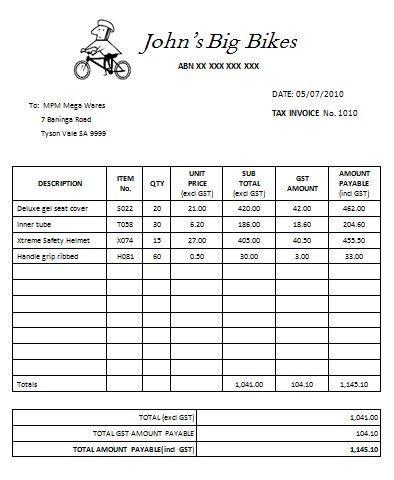 Australian Tax Invoice 11