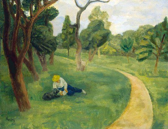 Berény Róbert (1887-1953)  Parkban, 1935  Olaj, vászon, 70x90 cm