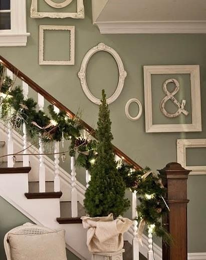 empty antique frames for staircase decor idea