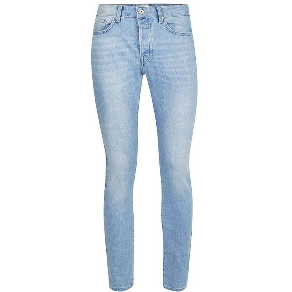 TOPMAN Bleach Washed Blue Stretch Tapered Fit Jeans ($52) ❤ liked on Polyvore featuring men's fashion, men's clothing, men's jeans, blue, mens blue jeans, mens slim fit stretch jeans, mens button fly jeans, mens slim fit jeans and mens super skinny stretch jeans