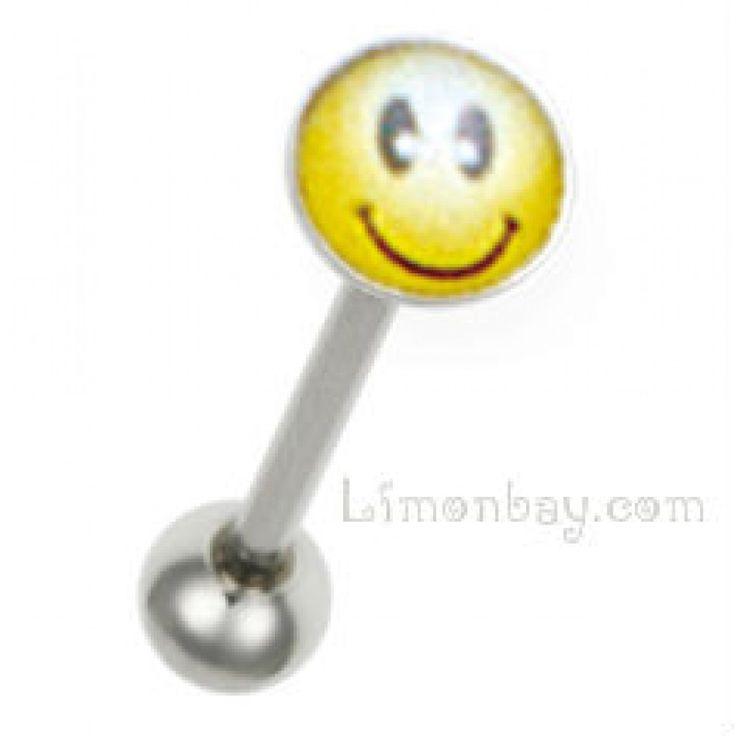 Barra de acero quirúrgico 316L, grosor: 1,6mm con Smiley. Largo entre bolas: 16mm. Ideal para uso en piercing de lengua. Comprar piercings online LimonBay, 2.70