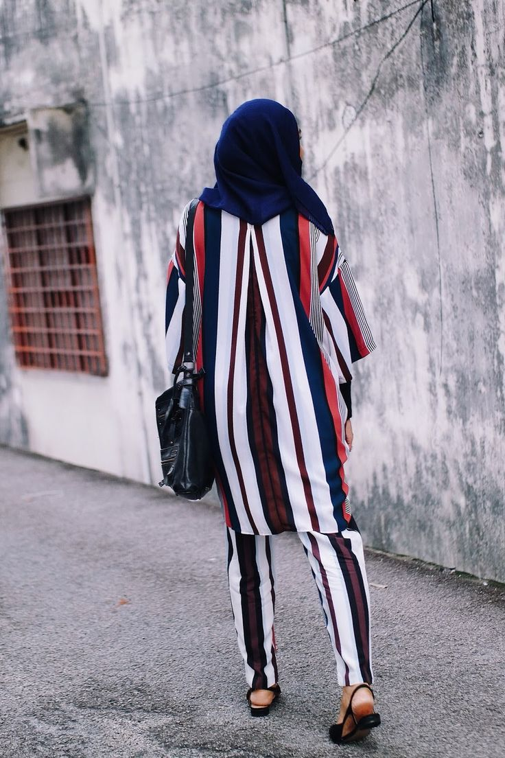 Matching striped shirt and pants from Monki for hijabi