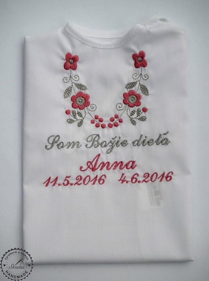 Košieľka na krst k14 bavlna biela, ružovo-šedá výšivka