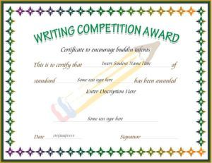 Writing competition award certificate template for ms word for Calligraphy certificate templates