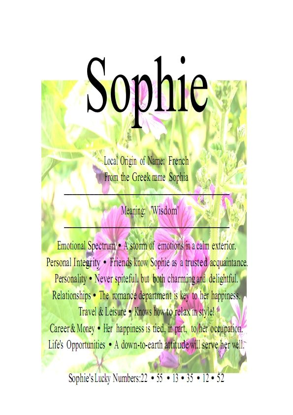 Image Detail for - Name Means Everything.Sophie, Sophia, Sofieke » Name Means Everything ...