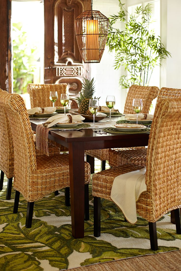 Open up your dining room and let a relaxing West Indies vibe bring a breath of fresh air to your table with hand-woven banana seating, natural placemats and coordinating flatware, table linens and napkin rings. Pier 1's roomy Torrance Dining Table has plenty of space for island getaways and get-togethers.