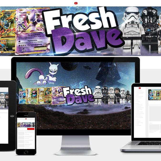 Erstelle ein Youtube Banner  Themen Lego Star Wars Figuren und Pokemon Karten Youtube Name FreshDave by melanin®