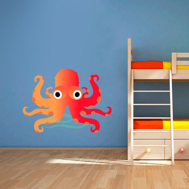 Muursticker Octo | Vrolijk die ene saaie muur op met een muursticker! Gemaakt van vinyl en gemakkelijk aan te brengen. Bekijk snel onze collectie! #muur #sticker #muursticker #slaapkamer #interieur #woonkamer #kamer #vinyl #eenvoudig #voordelig #goedkoop #makkelijk #diy #octopus #water #zee #cartoon #kinderkamer #tentakels