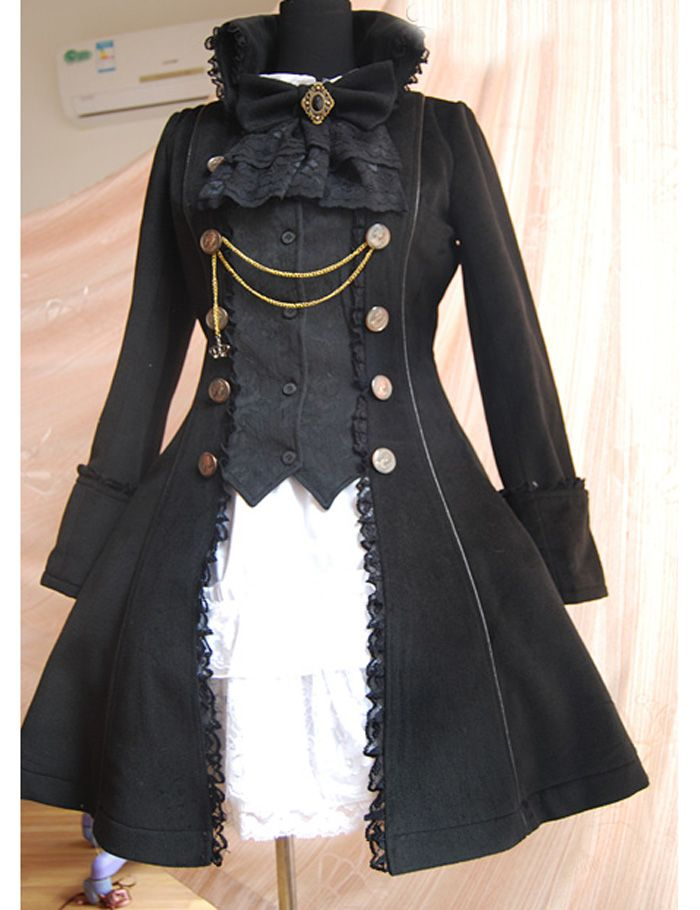 Black Woolen Cloth Metal Chain and Shiny Downot Decoration Gothic Lolita Coat