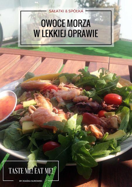 Taste me! Eat me!: Lekka sałatka z czosnkowymi owocami morza, szpinak...