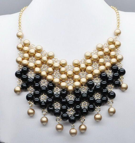 de color amarillo y negro bolas de nigeria de novia cuentas de collar de la joyería