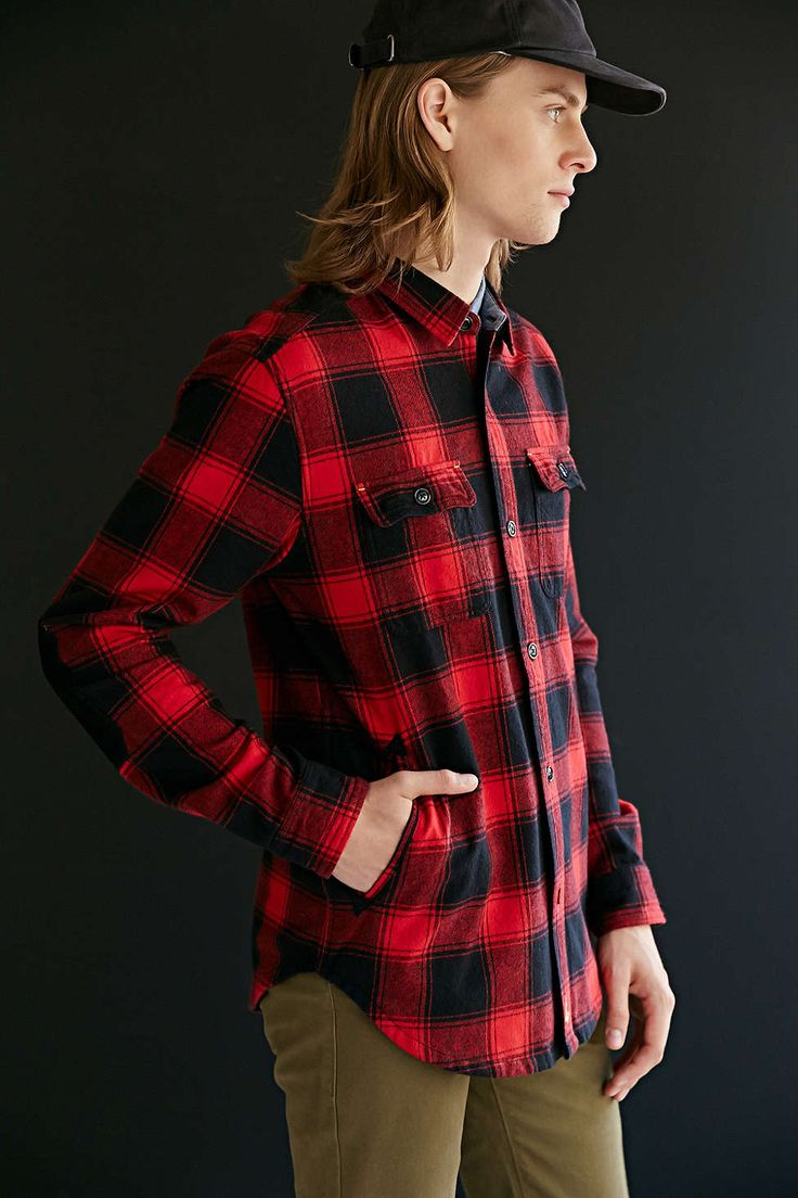Red urban outfitters cpo chambers buffalo shirt jacket for Buffalo check flannel shirt jacket