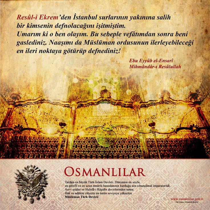 Resûl-i Ekrem'den İstanbul surlarının yakınına salih bir kimsenin defnolacağını işitmiştim. Umarım ki o ben olayım. Bu sebeple vefâtımdan sonra beni gaslediniz. Naaşımı da Müslüman ordusunun ilerleyebileceği en ileri noktaya götürüp defnediniz! Ebu Eyyûb el-Ensarî Mihmândâr-ı Resûlullah