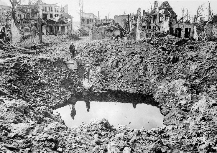 A gigantic shell crater, 75 yards in circumference, Ypres, Belgium, October 1917. (Australian official photographs/State Library of New Sout...
