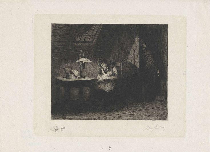 Vrouw met kind bij lamplicht, Willem Steelink (II), , 1866 - 1928