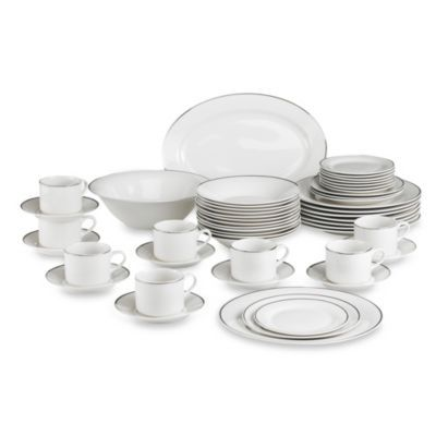 gibson studio platinum 50 piece dinnerware set