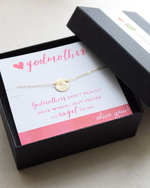 Show your Godmother how much she means to you with this tiny disk necklace that is stamped with an angel wing. Available in silver, gold and rose gold.