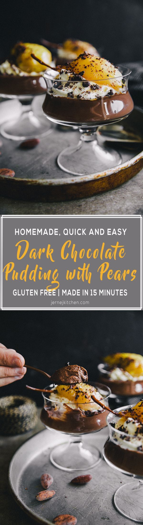 Homemade Dark Chocolate Puddings with Pears. Delicious, homemade, extra creamy and rich in flavor. Made in 15 minut (+15 min in a freezer).